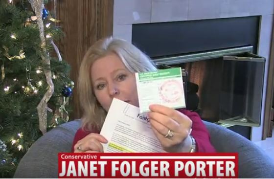 Porter holds certified receipt of letter she delivered to her opponent