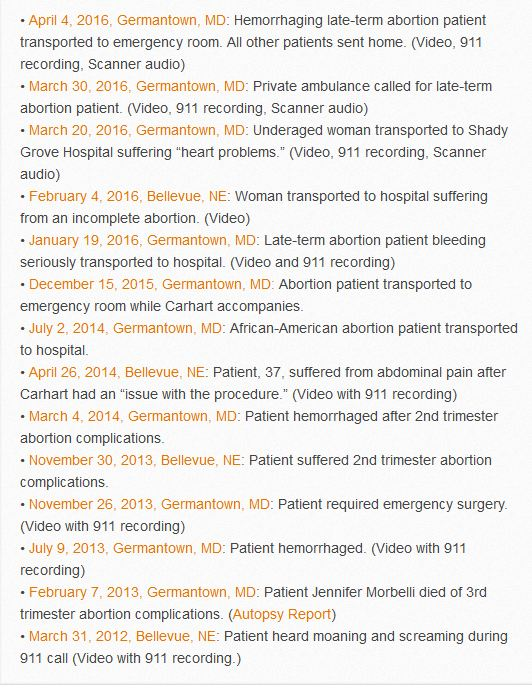 911 calls to Leroy Carhart abortion clinic (image screen shot off Operation Rescue website)