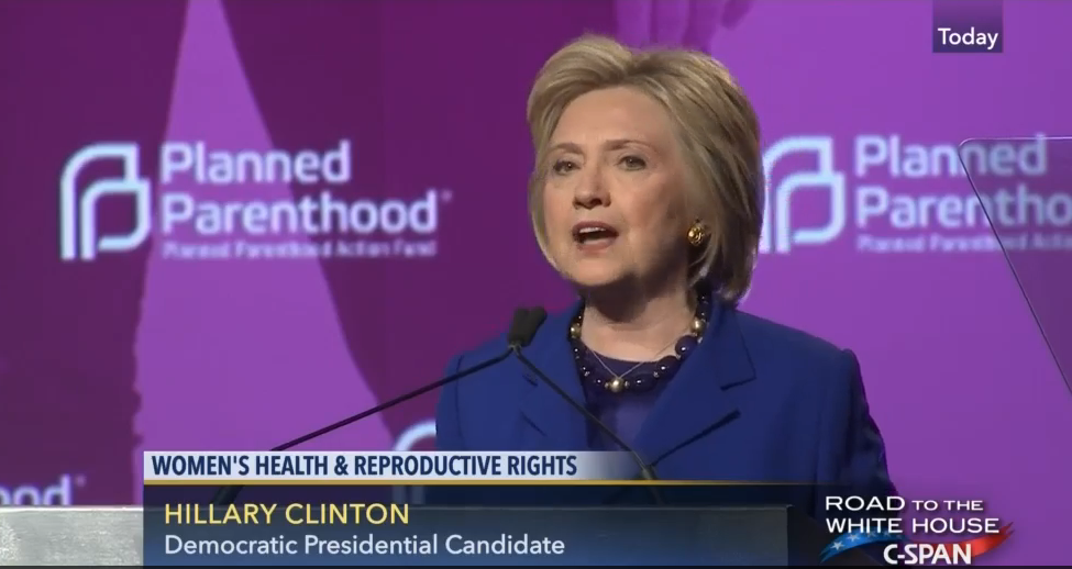 Hillary Clinton thanks Planned Parenthood June 2016