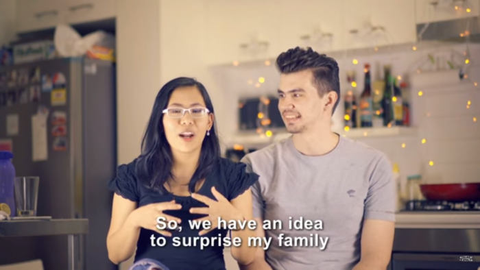 Screenshot of Chika and Al from the pregnancy surprise video.