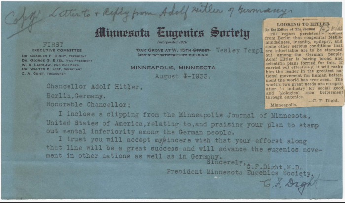 Charles F Dight letter to Hitler ( Image from document provided by the Minnesota Historical Society)