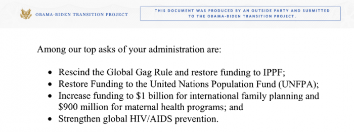 2008 IPPFA and PPFA request to Obama Administration