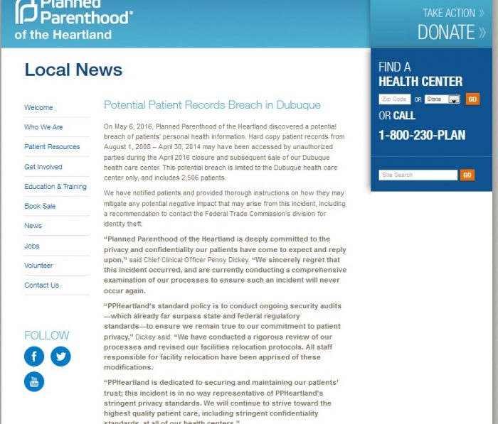 Planned Parenthood Privacy Breach