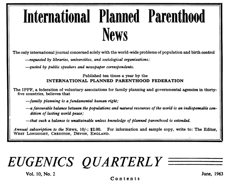1963 Advertisement from Planned Parenthood in the Eugenics Review Quarterly