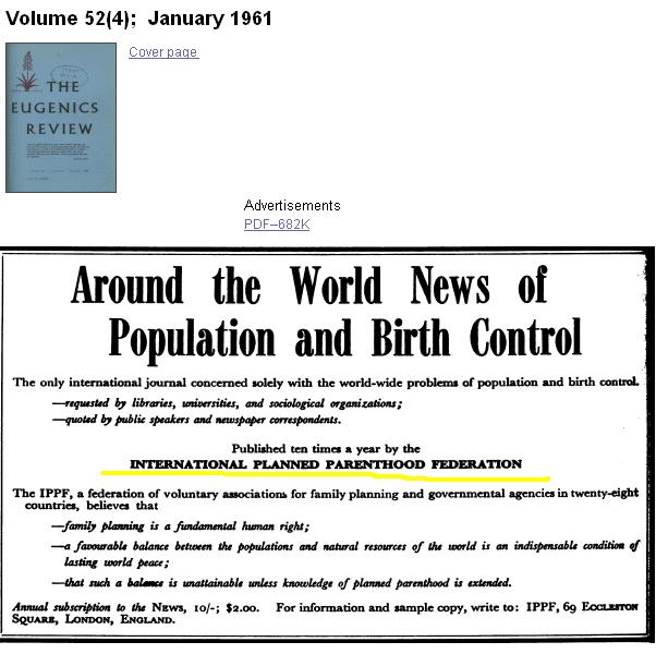 1961 advertisement from Planned Parenthood in the Eugenics Review