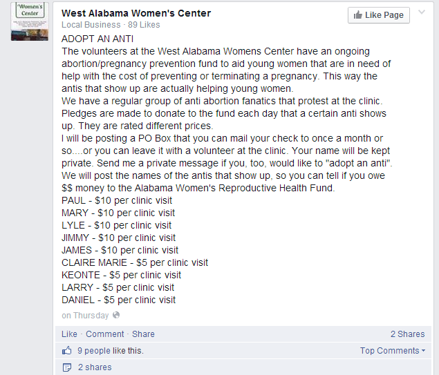 Screen shot from The West Alabama Women's Center Facebook Page.