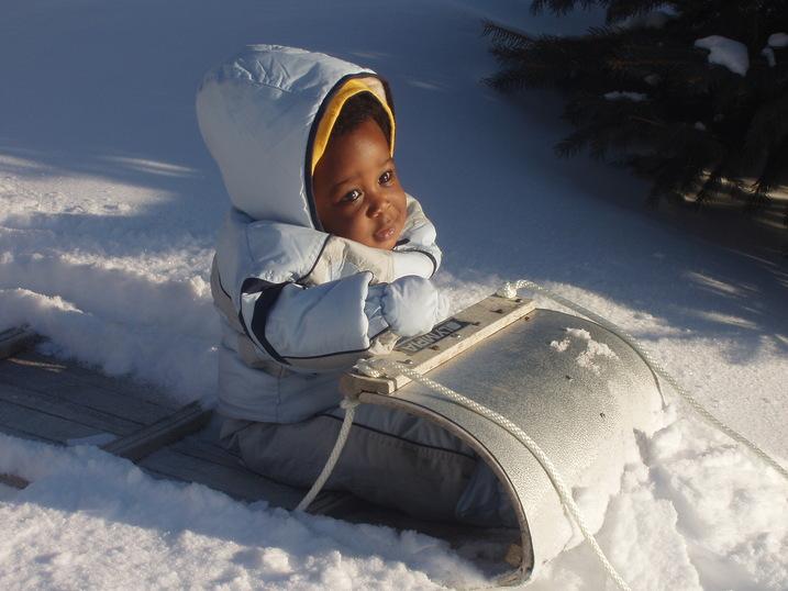 baby, sled, snow