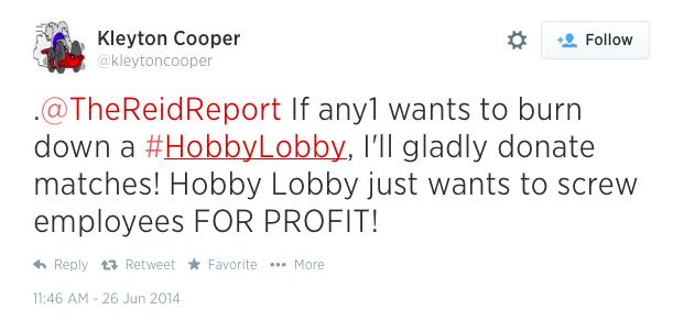 hobby lobby tweet