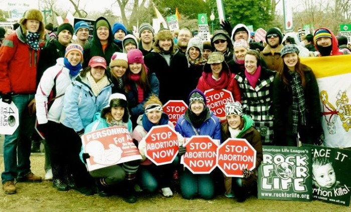 LU Newman Center students gather with Brad at the 2013 March for Life