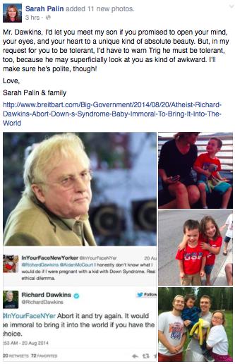 Sarah Palin to Richard Dawkins