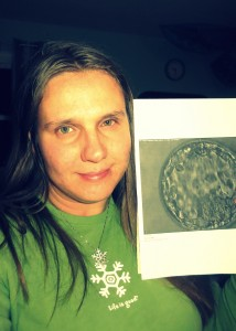 Inga and a photo of her adopted embryo.