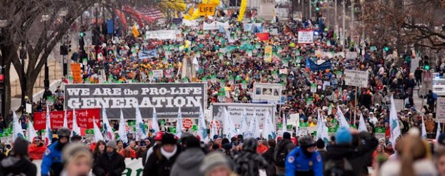 The March for Life crowd in 2015. This year, President Trump will address the March live.