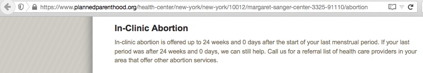 Abortions at 24 weeks, 0 days, at a New York Planned Parenthood