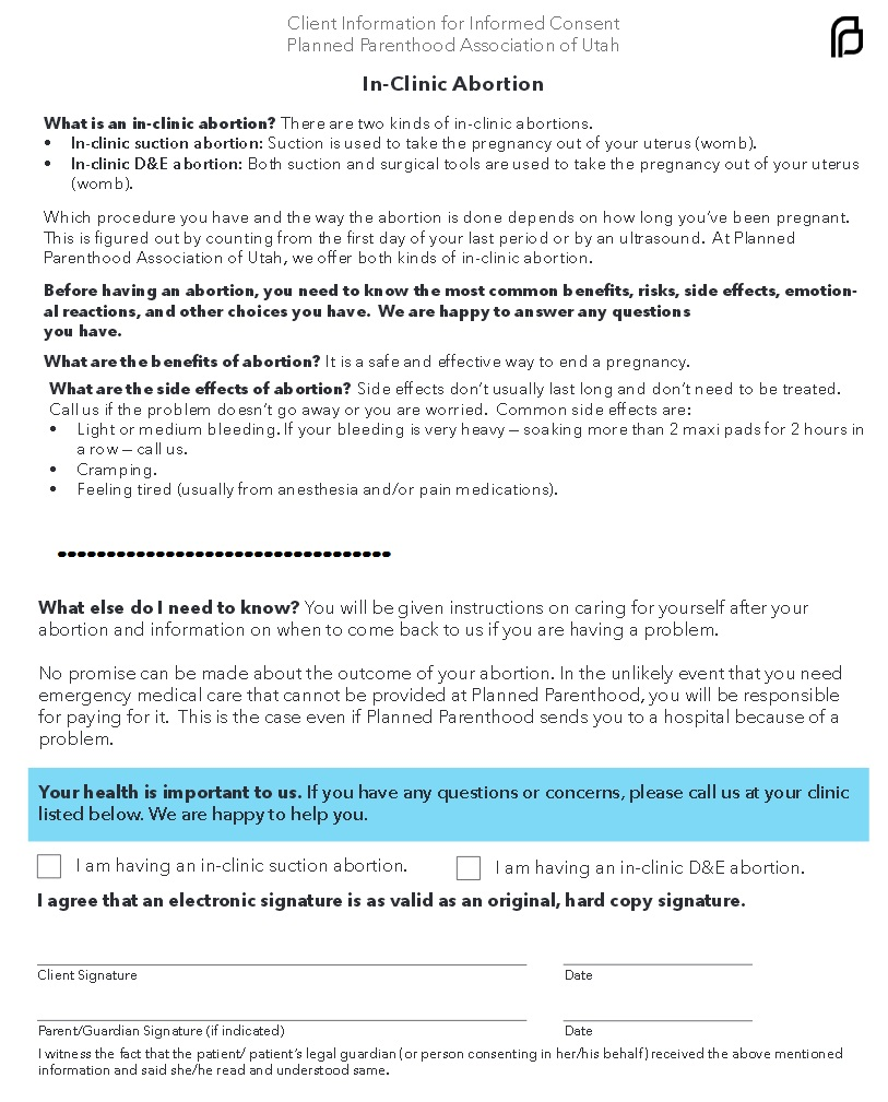 PLanned Parenthood consent form