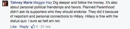Planned Parenthood, Hillary Clinton, dig deeper, money