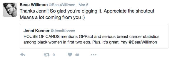 Beau Willimon and Jenni Konner on Twitter