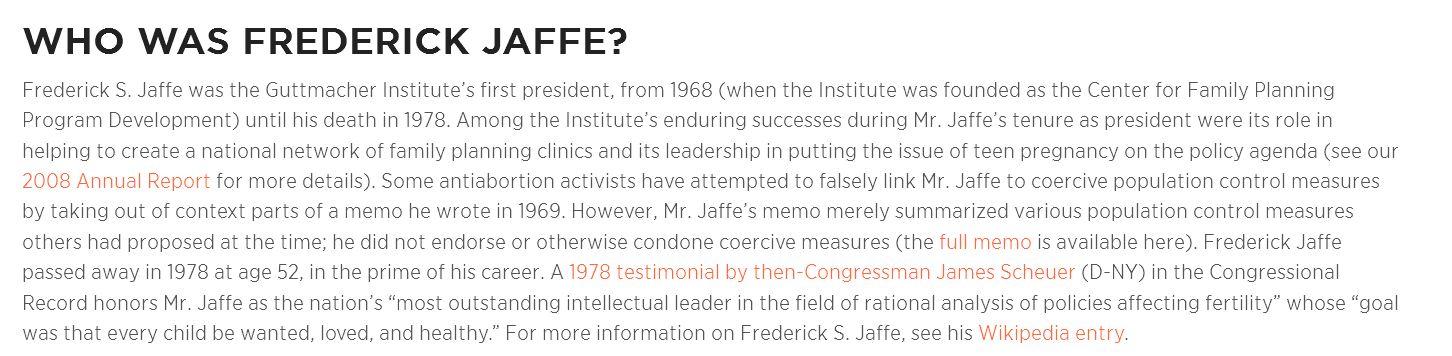 Guttmacher describes Frederick Jaffe