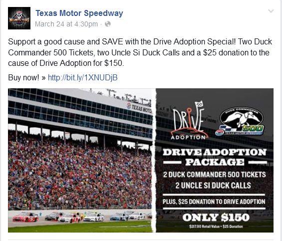 Texas Motor Speedway Drive Adoption