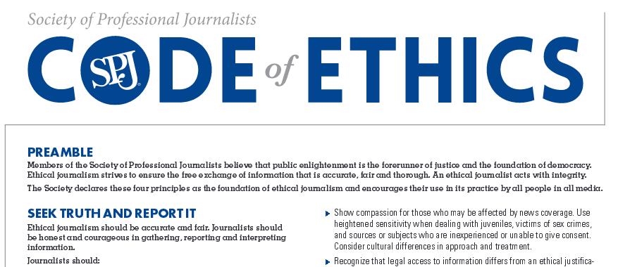 Journalist Code of Ethics Seek Truth