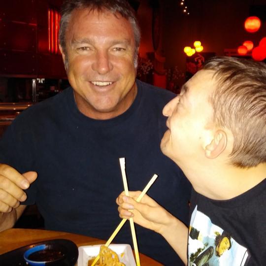 Dallan and Dad eating