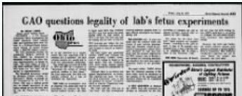 GAO questions labs fetal experiements