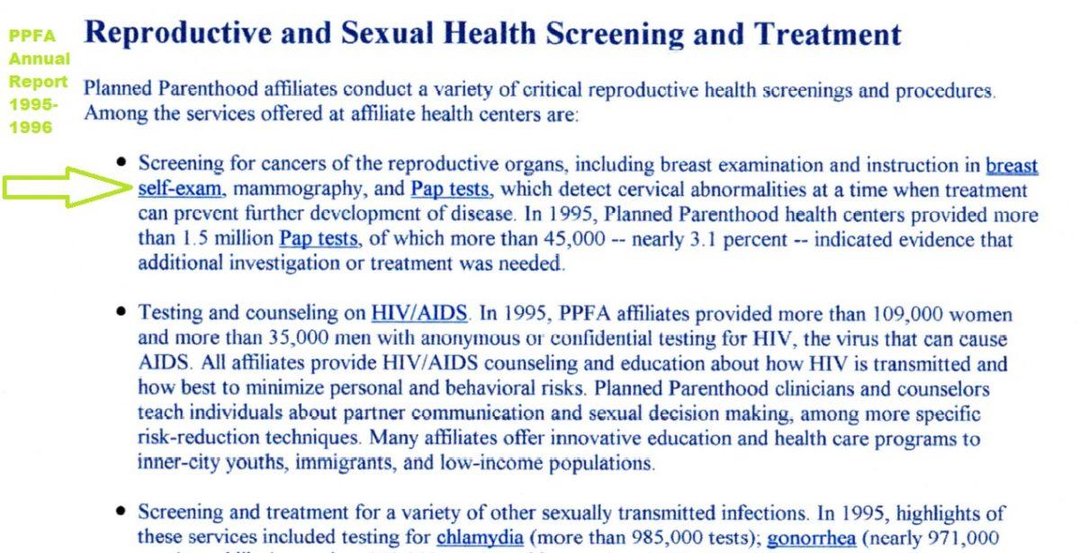 PPFA 1995 1996 annual report Mammography