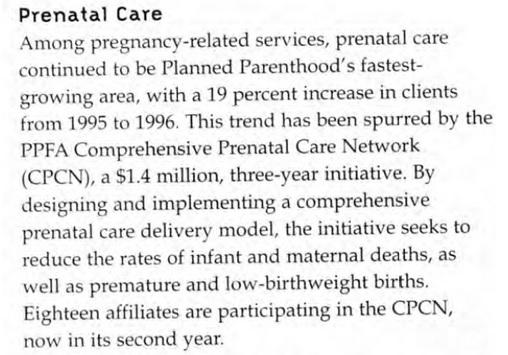 Prenatal care PP 1996-97 annual report