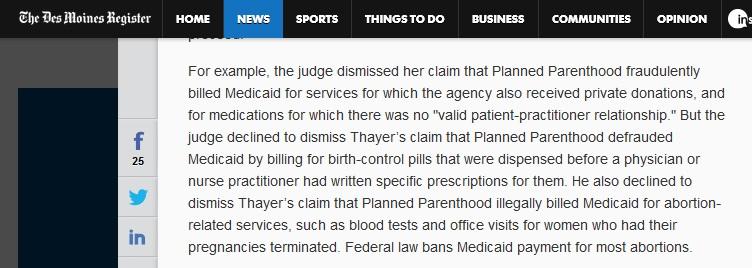 June 2016 Des Moines Register on Sue Thayer case