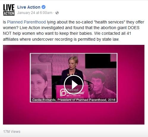 Live Action Prenatal Planned Parenthood FB post