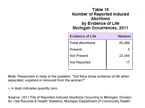 Michigan abortion evidence of life