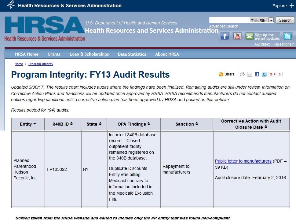 PP Hudson Peconic noncompliant HRSA 340B Program