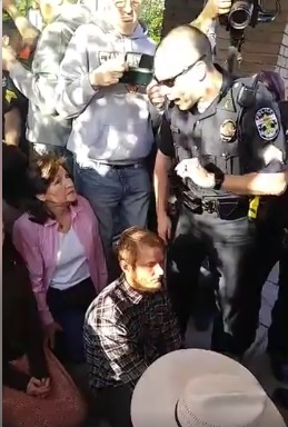 Eva Edl during prolife Rescue