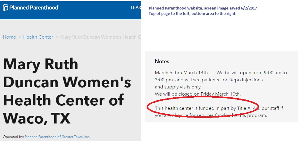 PP Center funded by TitleX tax money Waco Texas
