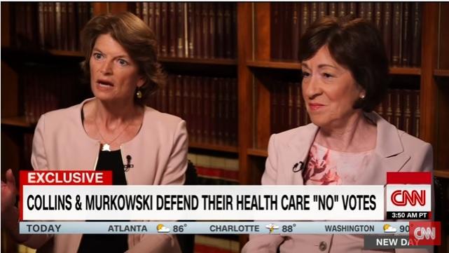 Senators Susan Collins Lisa Murkowski vote against ObamaCare repeal