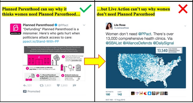 Twitter and Live Action pro-life messages Example 2