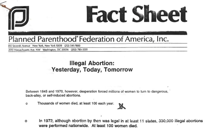 Illegal abortion deaths Planned Parenthood 1991