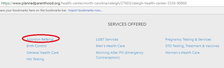 PP NC Title X abortion Referral