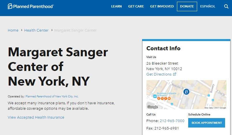 Margaret Sanger Center Planned Parenthood