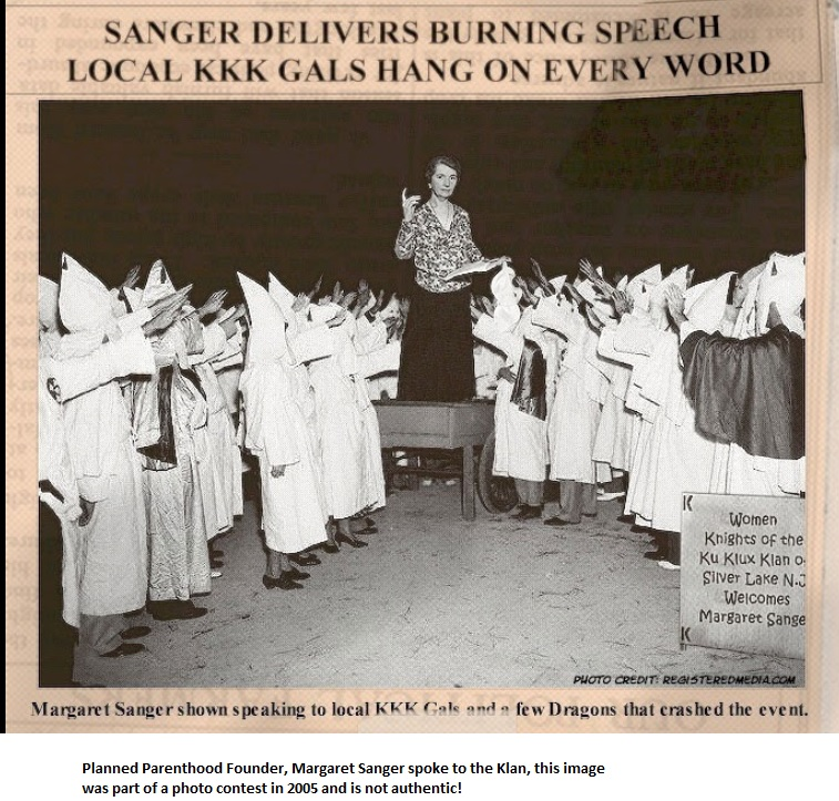 Margaret Sanger FAKE Klan Picture