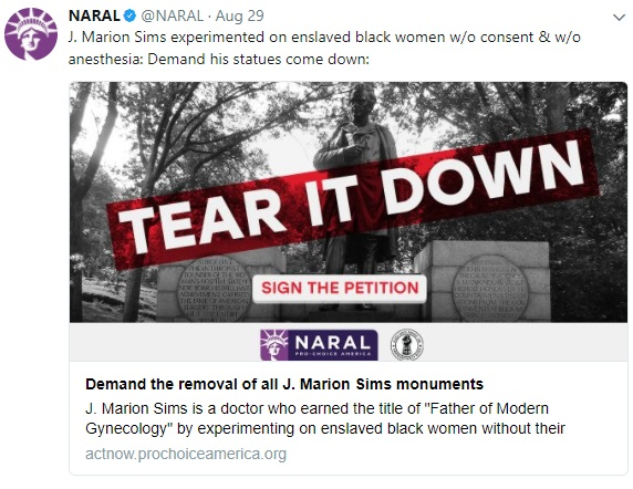 NARAL on J Marion Sims statute