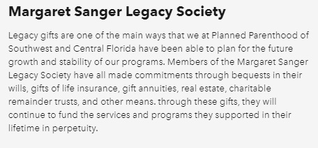 Planned Parenthood Florida Margaret Sanger Legacy Society