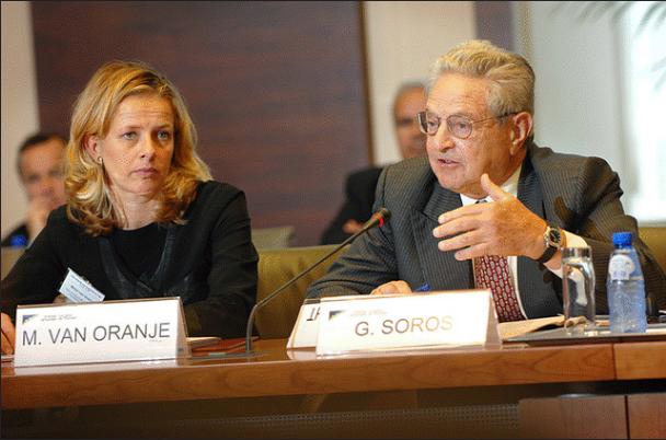 Open Society Foundations board member Mabel Van Oranje with George Soros