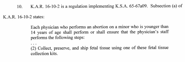 Kansas State Law on fetal tissue from abortion