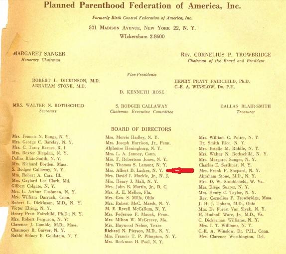 Mary Lasker Board of PPFA