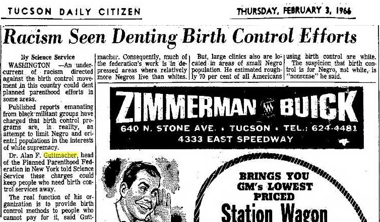 Racism seen as denting Birth Control 1966