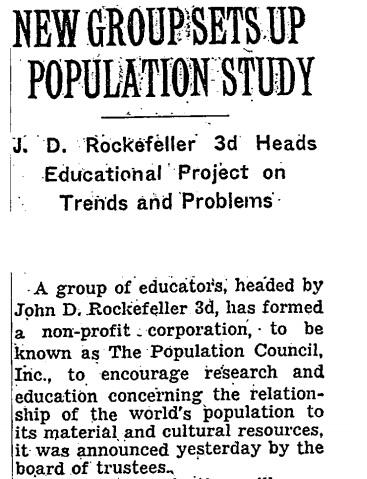 John D Rockefeller founded Population Council
