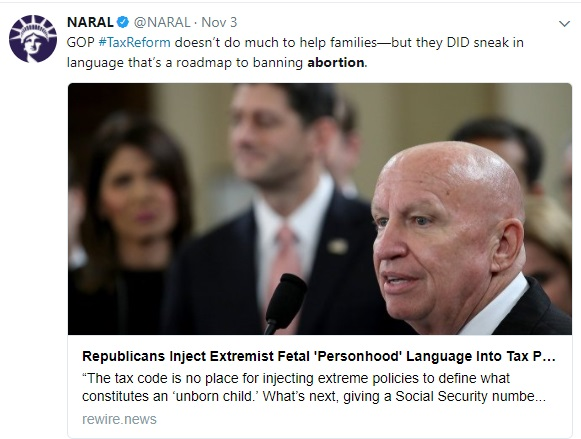 NARAL on GOP Tax Bill Tweet
