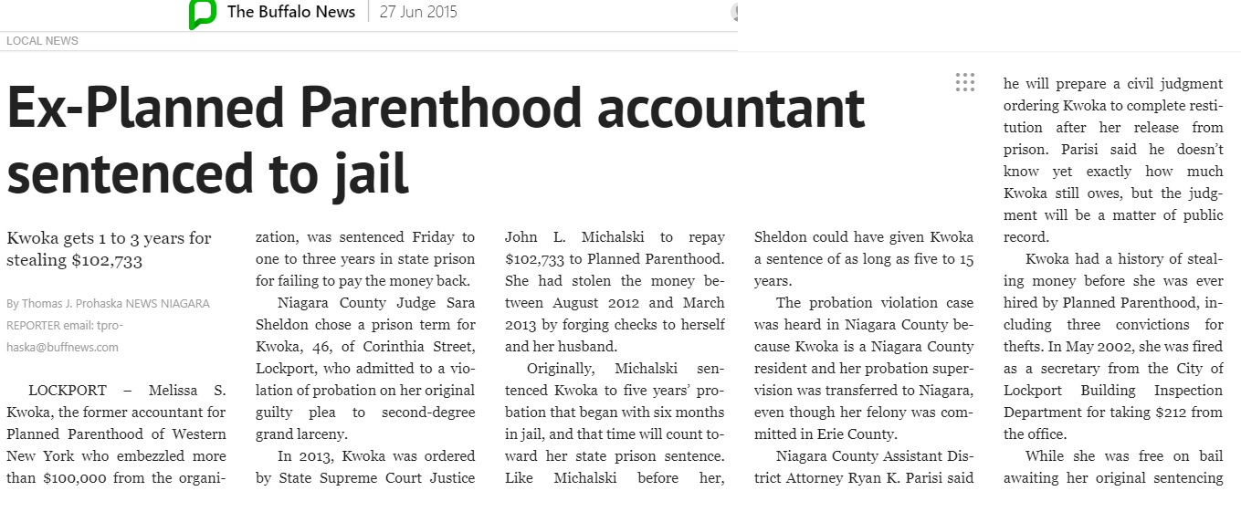 Planned Parenthood staffer Melissa Kwoka sentenced Buffalo News