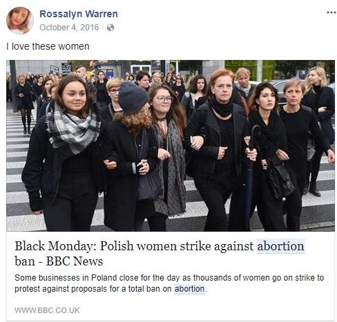 Rossalyn Warren loves women who support abortion