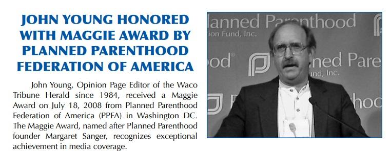John Young Waco Tribune Herald Planned Parenthood Media Award